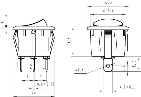 KAN-B2-SW25P28BL 23mm DC 12V 3pins, on-off, SPDT rocker