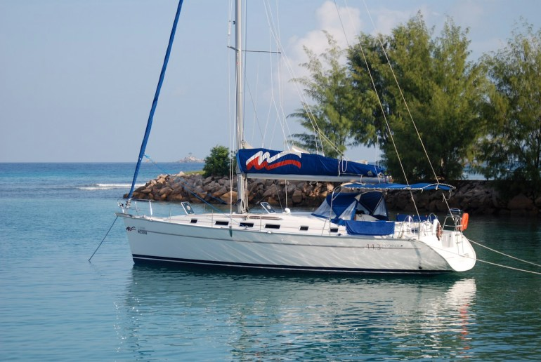 """You can see the world from the desck of a chatrerboat. This was our """"Waterfront home"""" for 10 days in the hopelessly exotic Seychelles."""