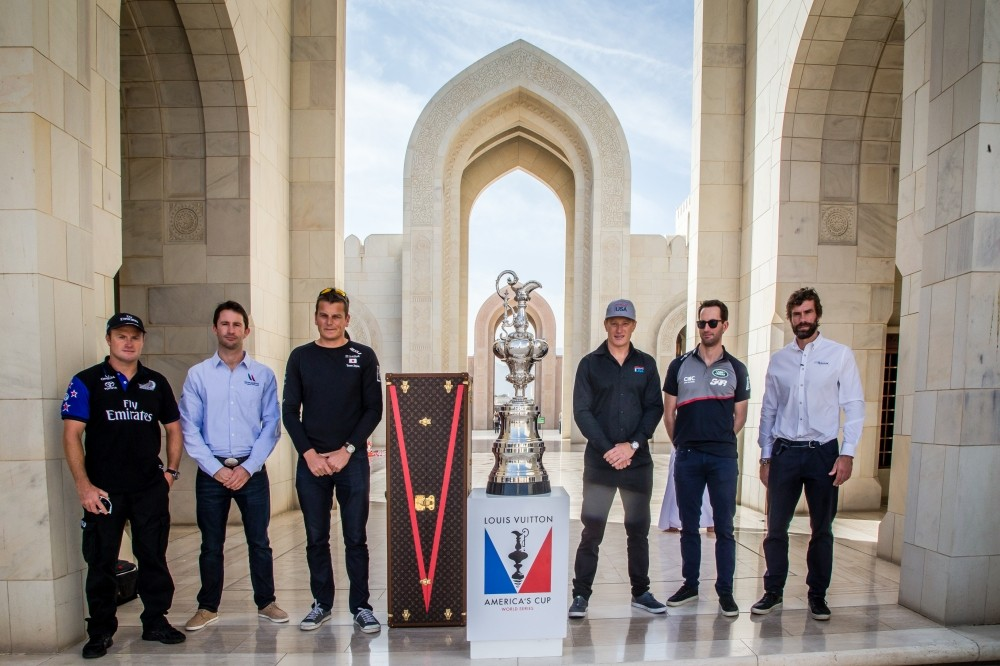 America's Cup arrives in Muscat. Louis Vuitton America's Cup World Series Oman 2016.Emirates Team New Zealand Skipper , Glenn Ashby. Groupama Team France, helmsman for Oman only , Adam Minoprio. SoftBank Team Japan, Dean Barker CEO, Skipper and Helmsman. ORACLE TEAM USA ,Skipper and Helmsman,Jimmy Spithill Land Rover BAR Team Principal ,Skipper and Helmsman ,Ben Ainslie.Artemis Racing Team Manager, Iain Percy. Muscat ,The Sultanate of Oman.Image licensed to Jesus Renedo/Lloyd images/Oman Sail