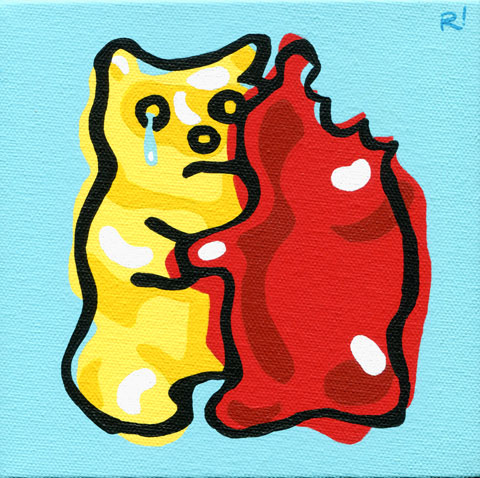 "Gummy Goodbye, 6""x6"", acrylic on canvas, Rob Elliott, 2014"