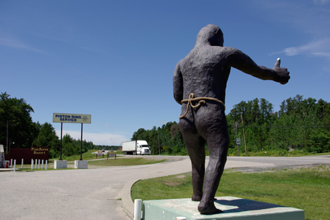 Sasquatch hitchhiking along Highway 17 near Kenora.