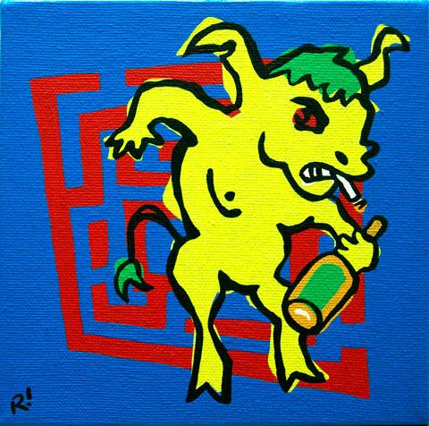 """Minotaur, 6""""x6"""", acrylic on canvas."""