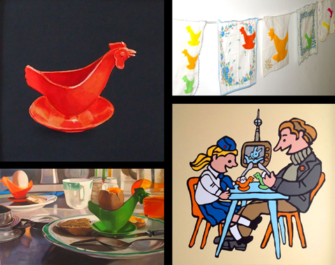 Four artists' versions of two East German egg cups. Clockwise from top left: Ernest Harris Jr., Christine Cosby, Rob Elliott, Melanie MacDonald. (Images not to scale)