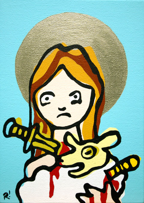 St. Agnes of Rome. Acrylic on canvas, 5'x7""