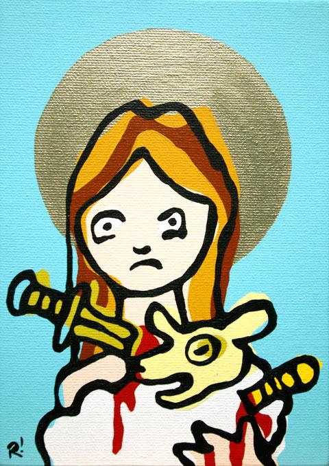 "St. Agnes of Rome. Acrylic on canvas, 5'x7"""