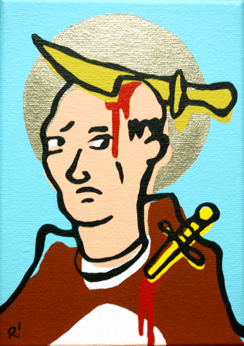 St. Peter of Verona. Acrylic on canvas, 5'x7""