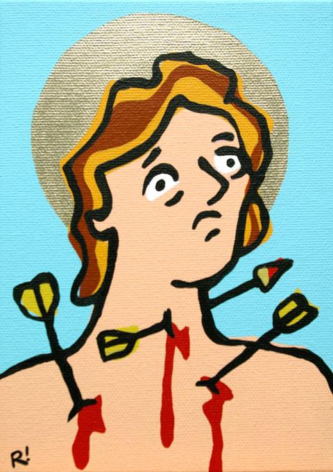 "St. Sebastian. Acrylic on canvas, 5'x7"""