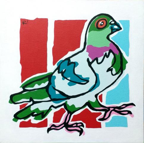"Maud, 12""x12"", acrylic on canvas, 2016. Rob Elliott"