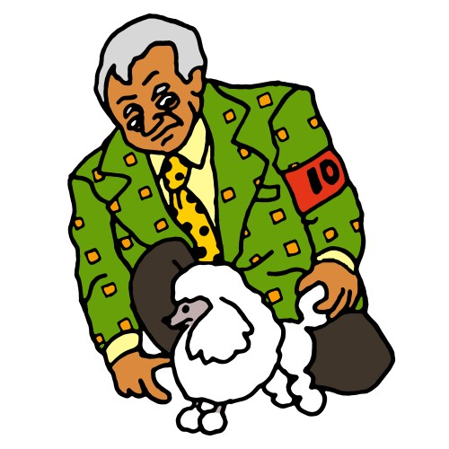 Man in 1970s suit with toy poodle drawing by Rob Elliott