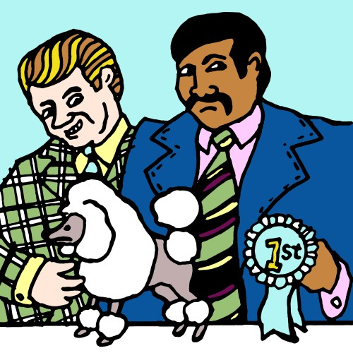 Two men in 1970s suits with toy poodle drawing by Rob Elliott