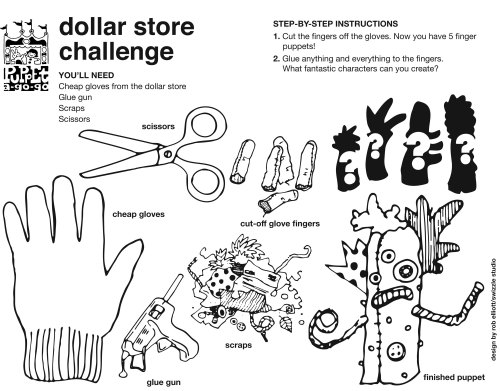 dollar store challenge finger puppet how-to sheet by Rob Elliott/Swizzle Studio