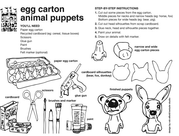 egg carton finger puppet how-to sheet by Rob Elliott/Swizzle Studio