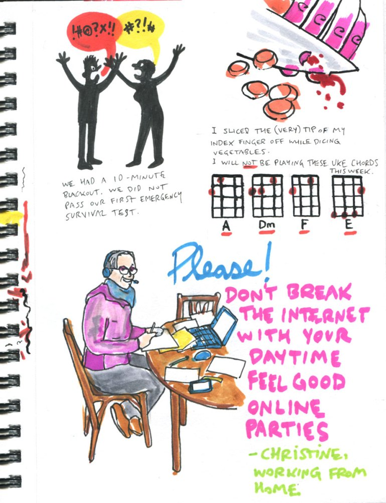 My Pandemic Diary page 12:working from home,blackout,cooking,ukulele chords