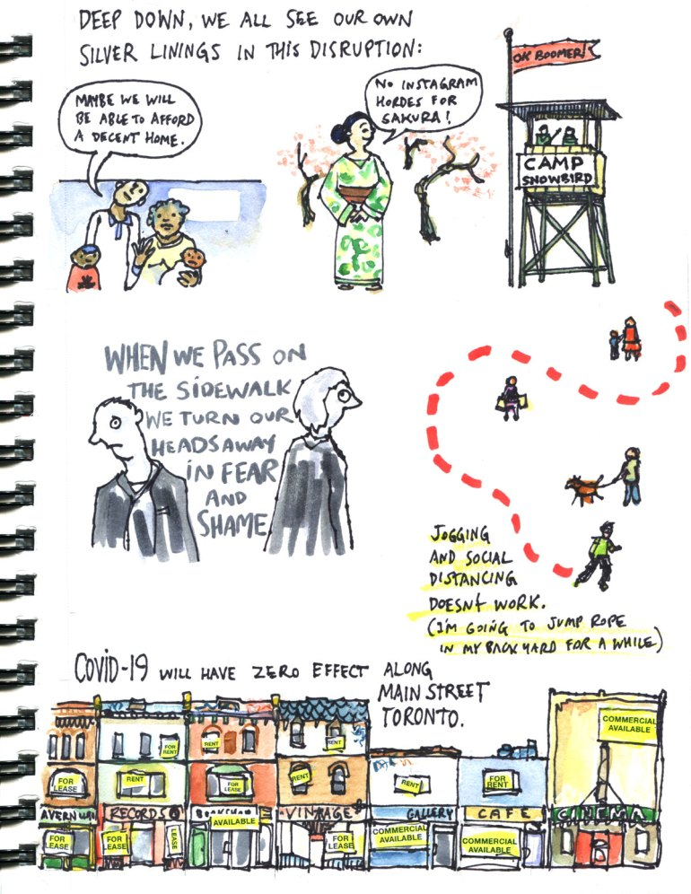 My Pandemic Diary page 15:social distancing,snowbirds,ok boomer,queen st west,running