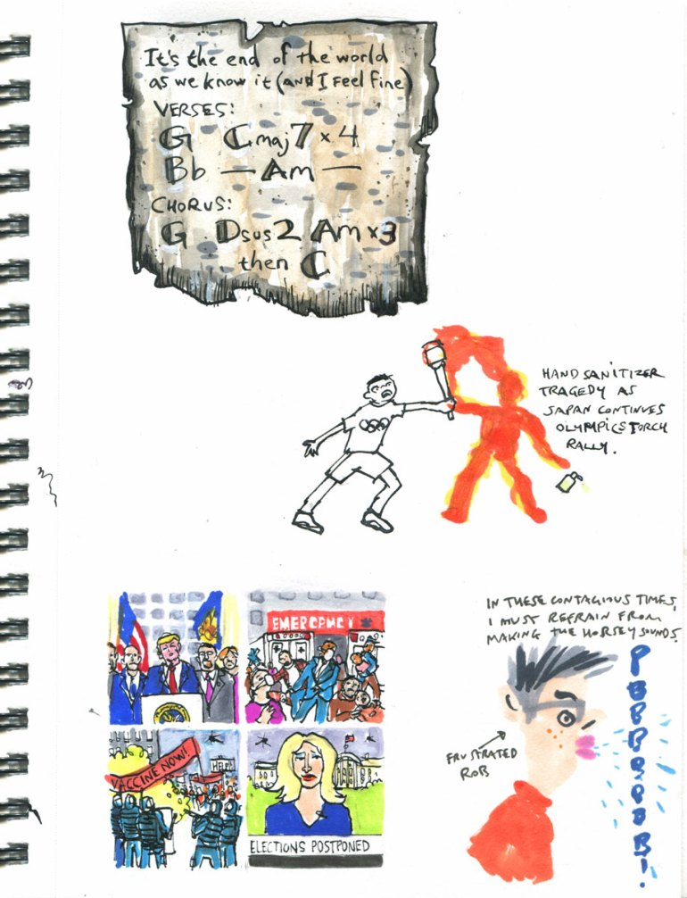 Page 8 My Pandemic Diary: Song on birch bark, Tokyo Olympics, USA comix, horsey sounds