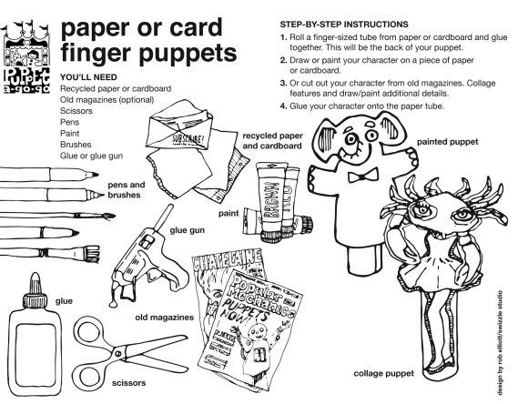 paper card collage finger puppet how-to sheet by Rob Elliott/Swizzle Studio