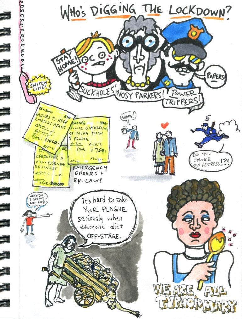 My Pandemic Diary page 25 lockdown, snitch line, plague, bylaws,typhoid mary