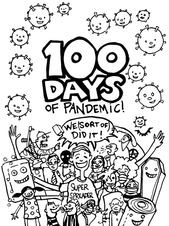 100 days of pandemic colouring page