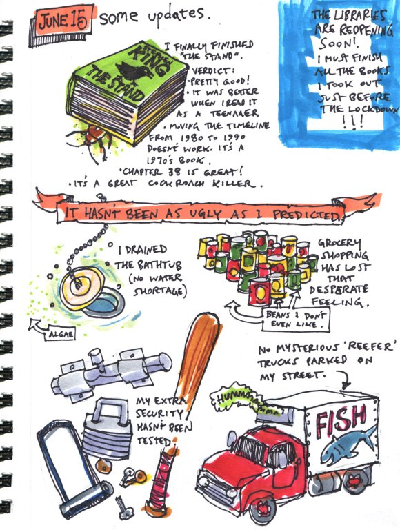 My Pandemic Diary page 56 The Stand,libraries,food haording,security,reefer truck