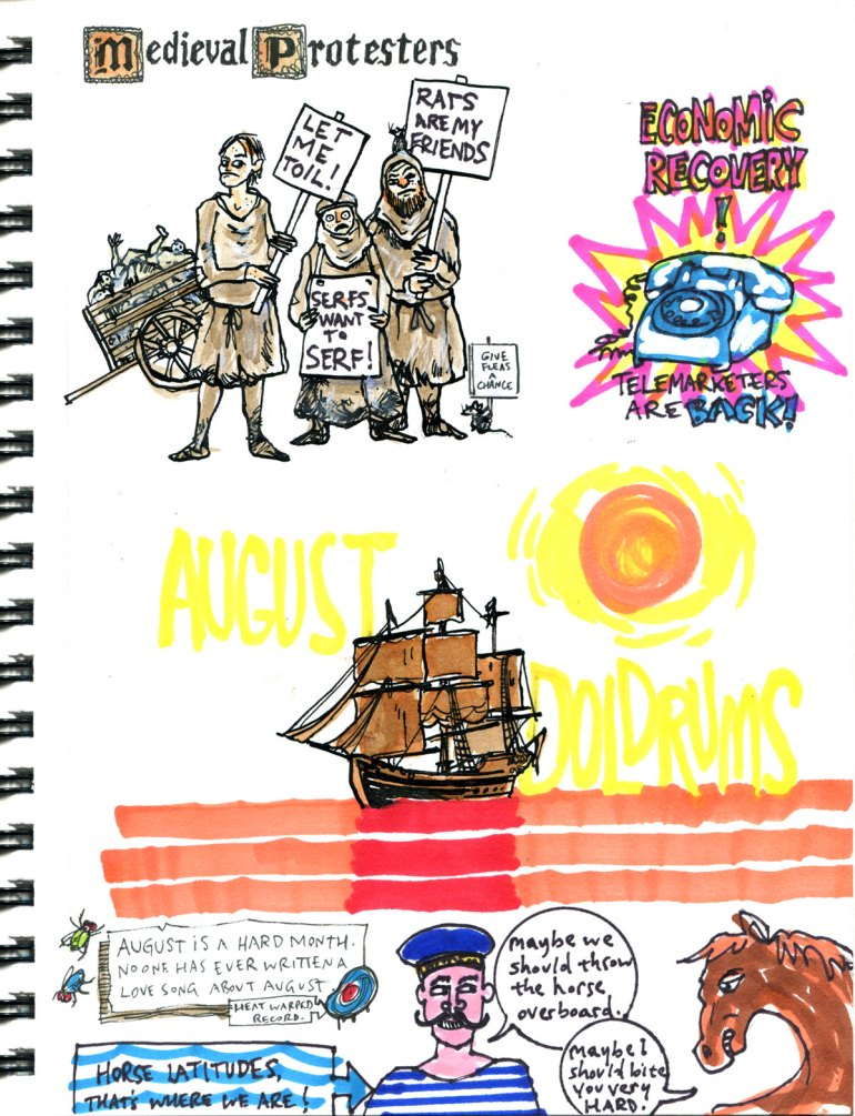 My Pandemic Diary 2 page 8: Medieval protesters, telemarketers, doldrums