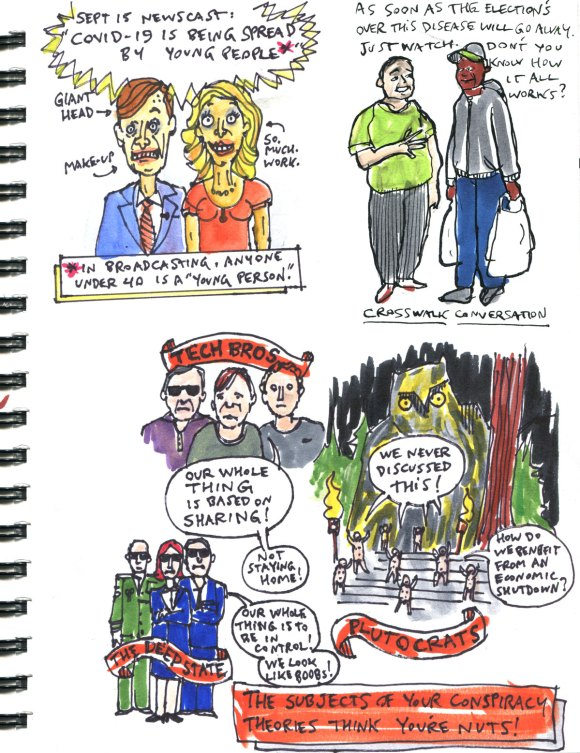 My Pandemic Diary part 2 page 17 conspiracy theories, newscasters, under-40
