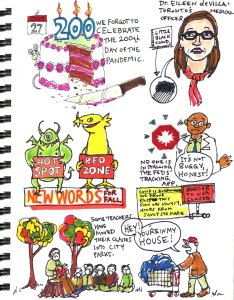 My Pandemic Diary part 2 page 20 tracking app, eileen devilla, 200 days, monsters