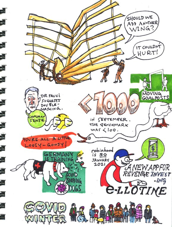 My Pandemic Diary 2, page 32, gamestop, moving goalposts, covid winter