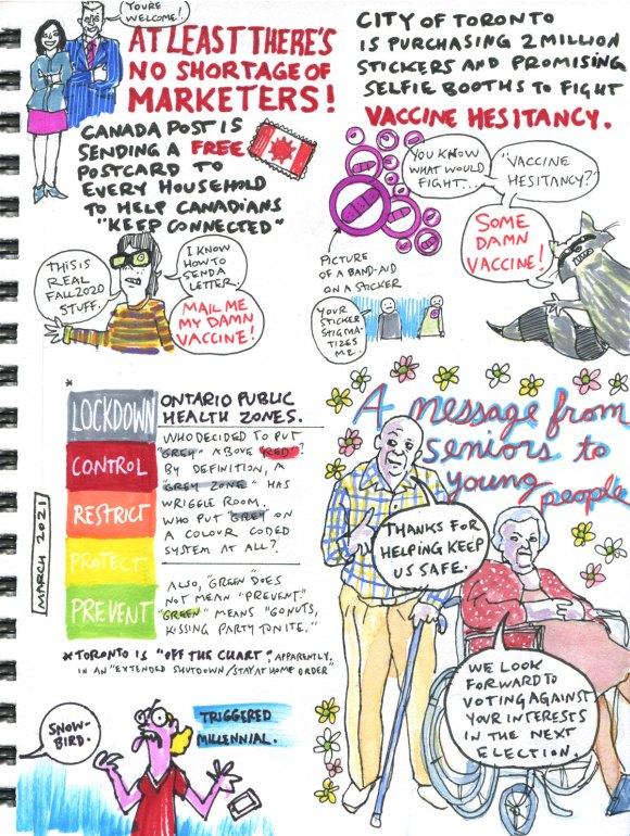 My Pandemic Diary 2, page 39 vaccine hesitancy, onatrio zones, seniors