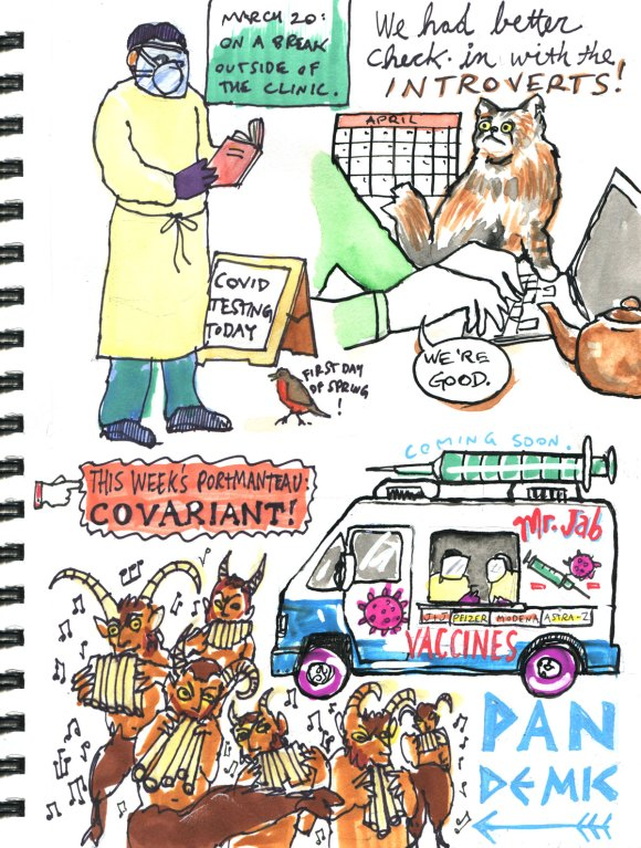 My Pandemic Diary 2 page 45 Vaccines, introverts, Pan the god