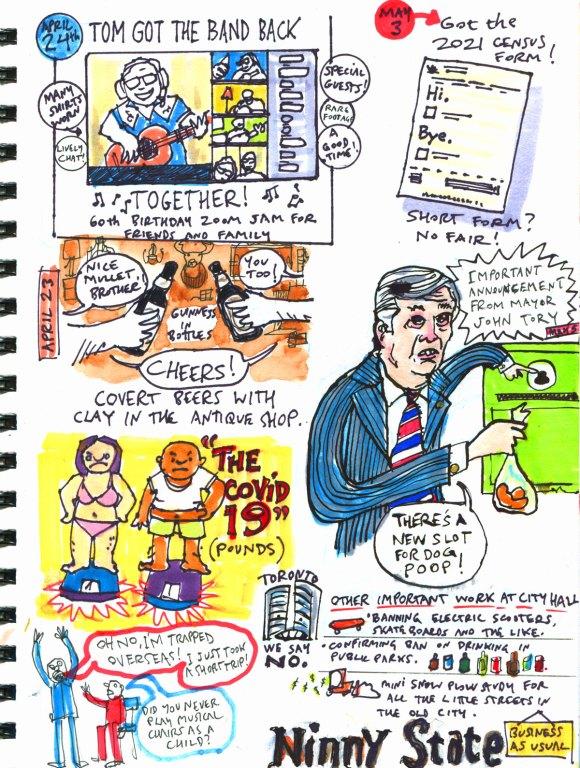 My Pandemic Diary 2 page 54 Toronto politics, John Tory, flight bans, weight gain, parties