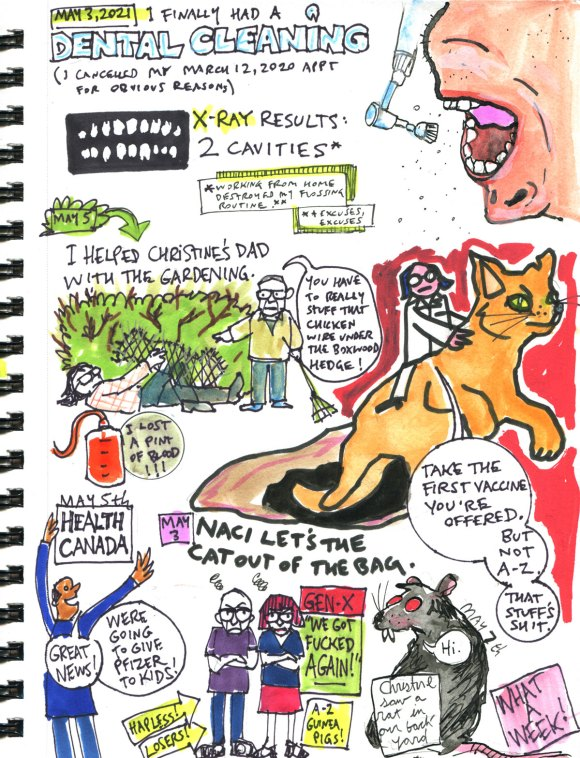 My Pandemic Diary 2 page 55 Bad week, dentist, rat, NACI, Gen X
