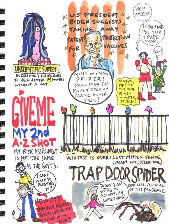 My Pandemic Diary 2 page 60 AZ, hair, Biden, Pfizer, Trudeau, mittens, trap door spider