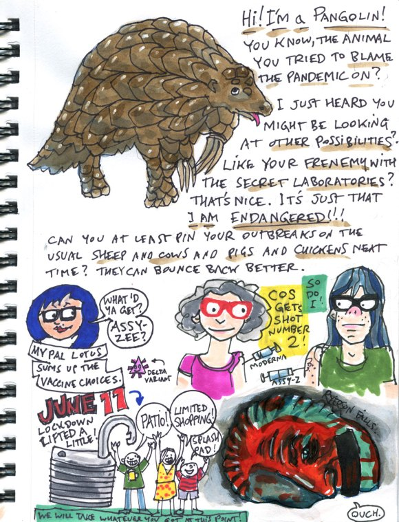 My Pandemic Diary part 3 Page 5 pangolin second shot reopening Ryerson