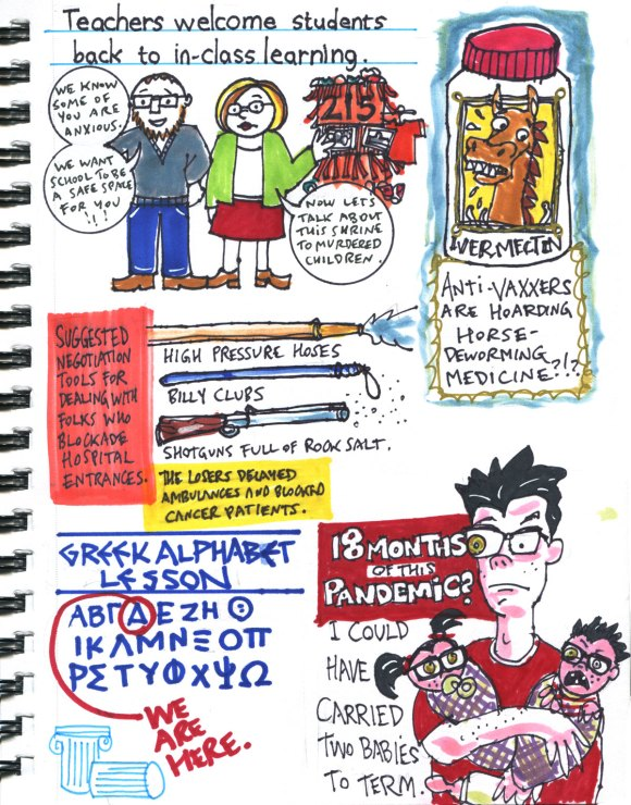 My Pandemic Diary part 3 Page 17 back to school, ivermectin, protrstors, greek alphabet