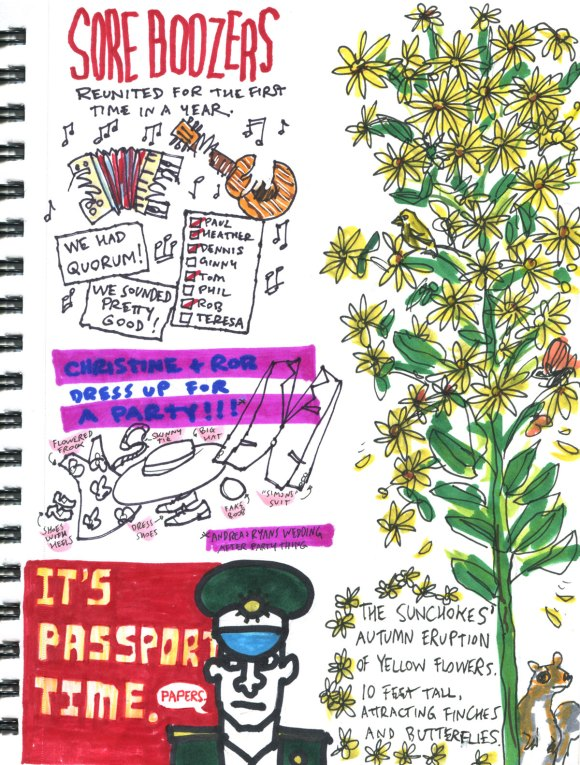 My Pandemic Diary part 3 Page 20 passports, sore boozers, party clothes, sunchokes