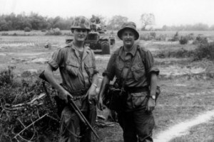 ABC reporter, and later RN documentary maker, Tim Bowden on patrol with a US Marine squad near Da Nang in Vietnam. (1966) [Photo: ABC ]