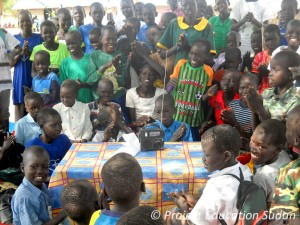 Students in South Sudan listen to their favorite shortwave radio program, VOA Special English.