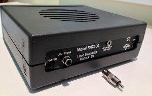 Back panel of the Lowe SRX 100 and RCA to BNC adapter (Click to enlarge)