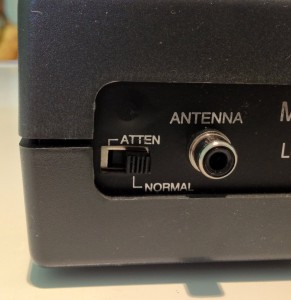 The antenna connection and attenuation switch on back panel of radio. (Click to enlarge)