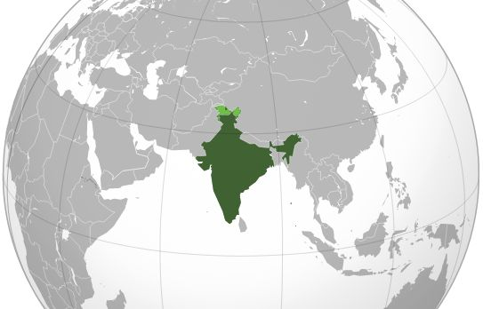 """India (orthographic projection)"" by Ssolbergj (talk) - Own work,This vector image was created with Inkscape.Aquarius.geomar.deThe map has been created with the Generic Mapping Tools: http://gmt.soest.hawaii.edu/ using one or more of these public domain datasets for the relief:ETOPO2 (topography/bathymetry): http://www.ngdc.noaa.gov/mgg/global/global.htmlGLOBE (topography): http://www.ngdc.noaa.gov/mgg/topo/gltiles.htmlSRTM (topography): http://www2.jpl.nasa.gov/srtm/English 