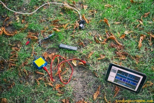 "unCube Dongle Pro+ and Toshiba Encore 8"" running SDR# in a London park"