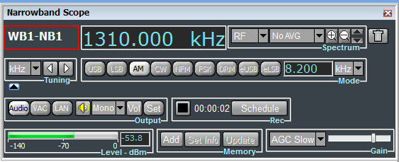 The record and schedule functions are most accessible in the narrowband scope window (above) and the wideband scope window.