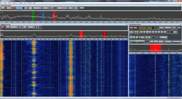 A screen capture of the TitanSDR Pro as I recorded all three frequencies of the BBC Midwinter broadcast simultaneously.