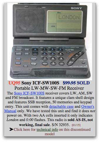 ICF-SW100-Used-NonWorking