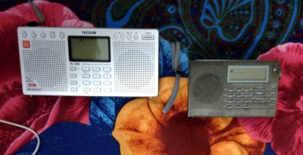 Vimal's favorite radios are the Tecsun PL 390 and the Eton E100. (Photo: Vimal)