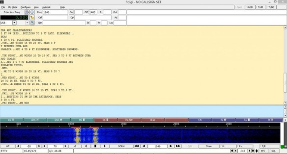 Fldigi in action with split screen; RTTY text above, waterfall below.