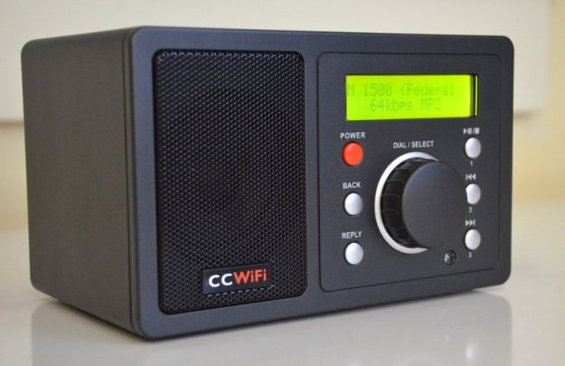 The front panel of the CC Wifi is simple and intuitive. The main knob acts as both a selection dial and volume control.