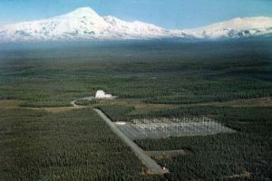 Aerial view of the HAARP site, looking towards Mount Sanford, Alaska (Source: Wikipedia)