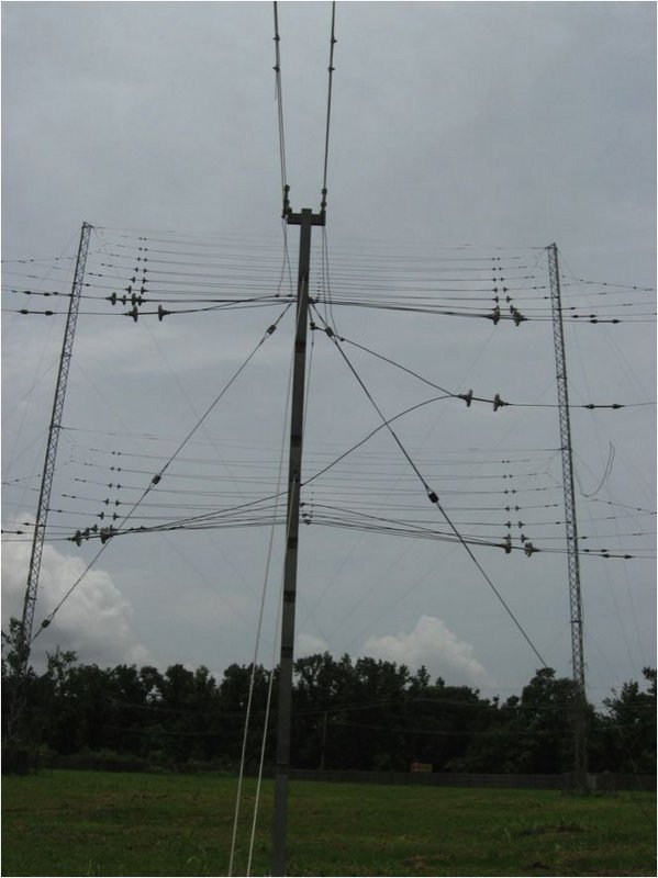 Figure 12. View from the balanced feed point of the TCI 516-3 log periodic antenna 1ith 14db gain aimed at 20 degrees