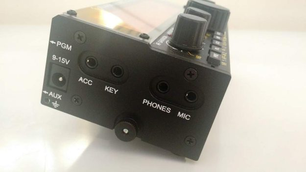 The left side of the KX2 is where all connections are located, save the antenna connector.
